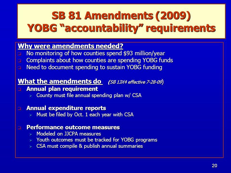 20 SB 81 Amendments (2009) YOBG accountability requirements Why were amendments needed.