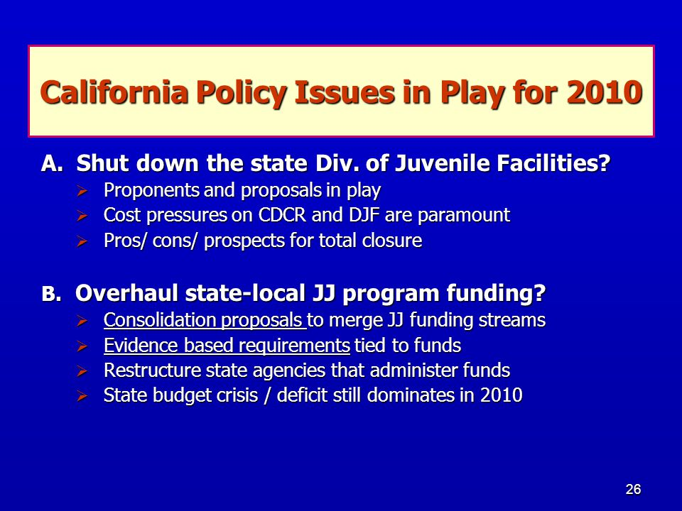 26 California Policy Issues in Play for 2010 A. Shut down the state Div.