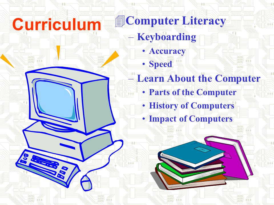 Curriculum 4Computer Literacy –Keyboarding Accuracy Speed –Learn About the Computer Parts of the Computer History of Computers Impact of Computers