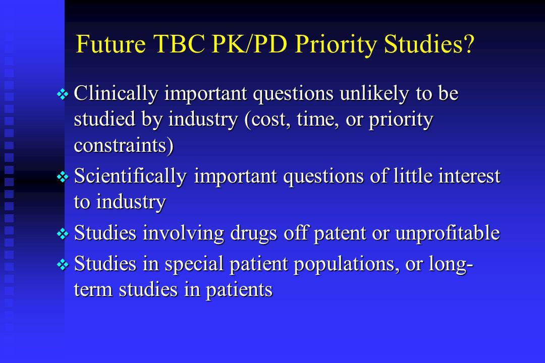 Future TBC PK/PD Priority Studies.