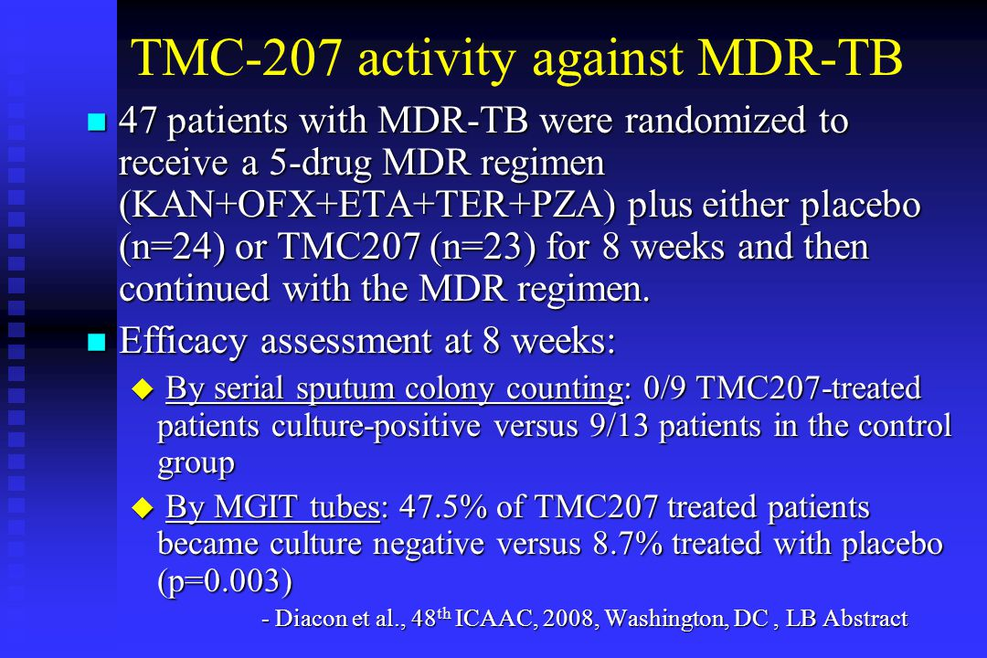 TMC-207 activity against MDR-TB n 47 patients with MDR-TB were randomized to receive a 5-drug MDR regimen (KAN+OFX+ETA+TER+PZA) plus either placebo (n=24) or TMC207 (n=23) for 8 weeks and then continued with the MDR regimen.