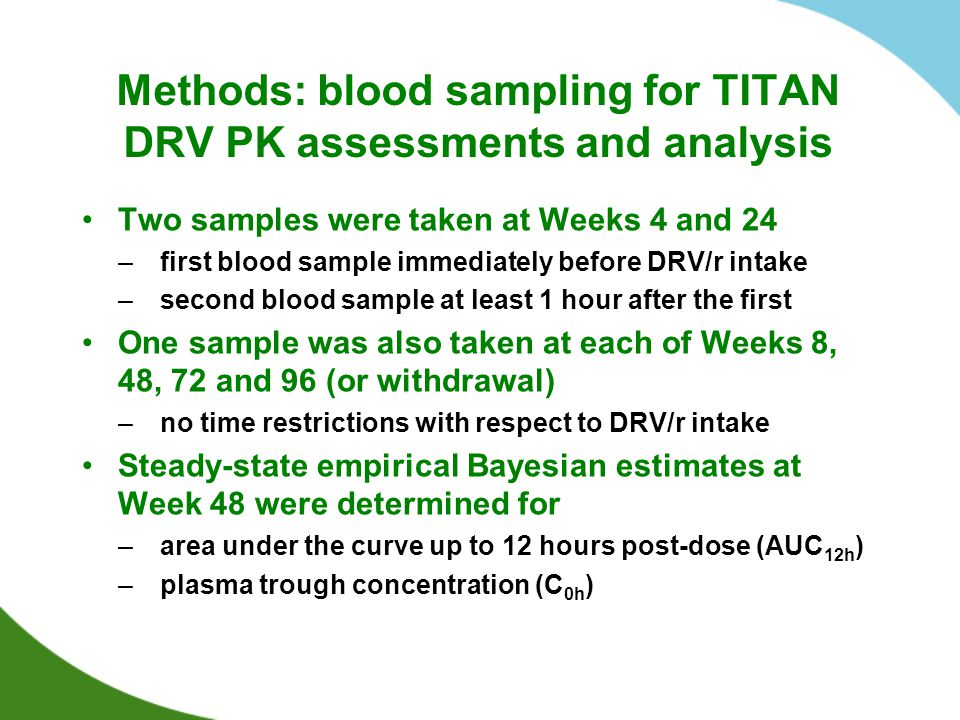 Methods: blood sampling for TITAN DRV PK assessments and analysis Two samples were taken at Weeks 4 and 24 –first blood sample immediately before DRV/
