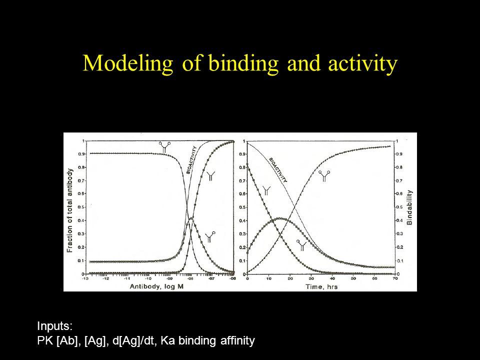 Modeling of binding and activity Inputs: PK [Ab], [Ag], d[Ag]/dt, Ka binding affinity