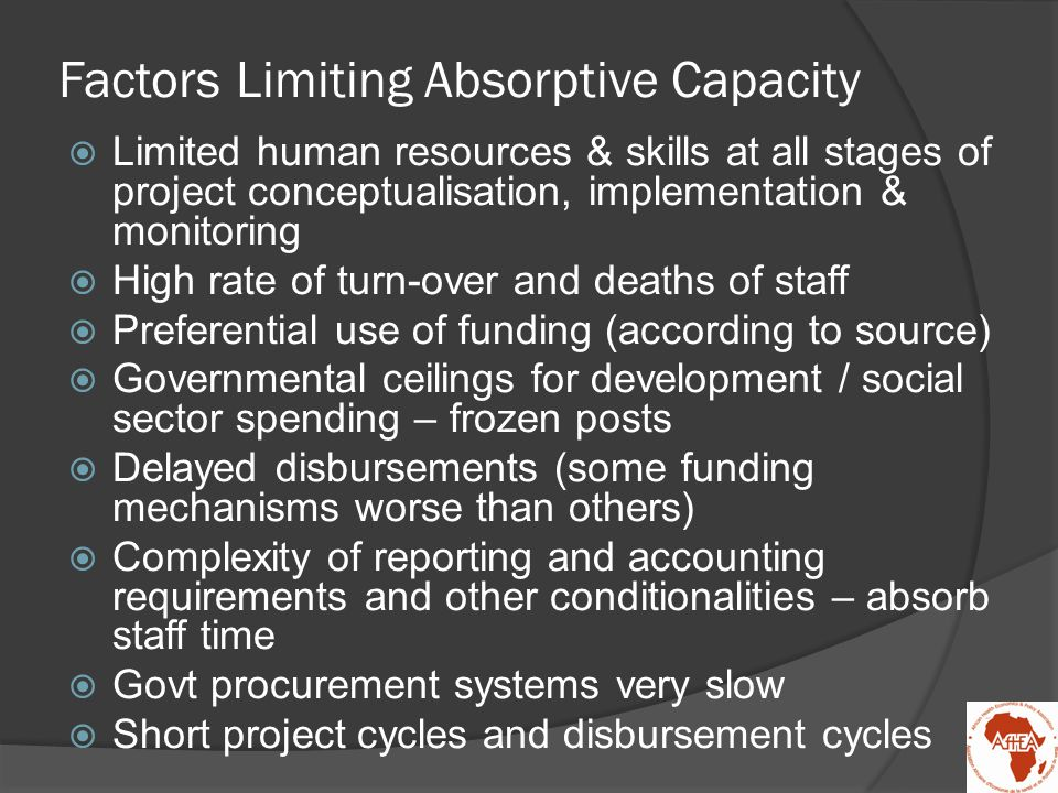 Factors Limiting Absorptive Capacity  Limited human resources & skills at all stages of project conceptualisation, implementation & monitoring  High