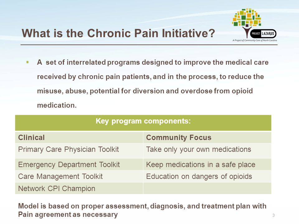 3  A set of interrelated programs designed to improve the medical care received by chronic pain patients, and in the process, to reduce the misuse, abuse, potential for diversion and overdose from opioid medication.