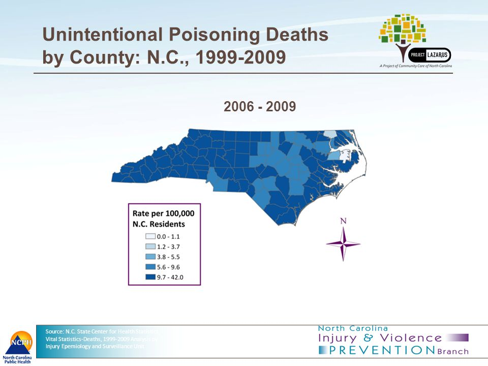7 Unintentional Poisoning Deaths by County: N.C., 1999-2009 Source: N.C. State Center for Health Statistics, Vital Statistics-Deaths, 1999-2009 Analys