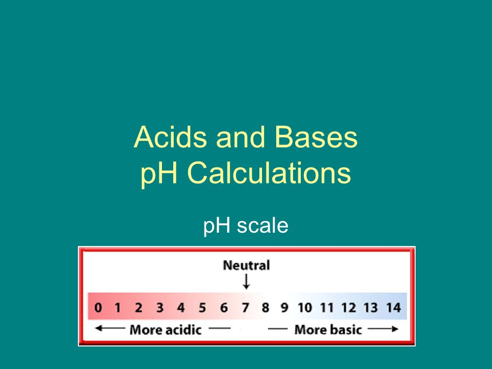 Acids and Bases pH Calculations pH scale
