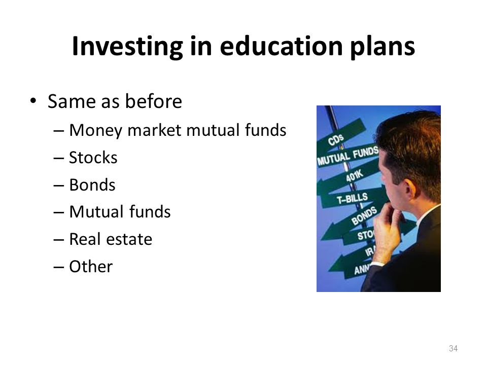 Investing in education plans Same as before – Money market mutual funds – Stocks – Bonds – Mutual funds – Real estate – Other 34