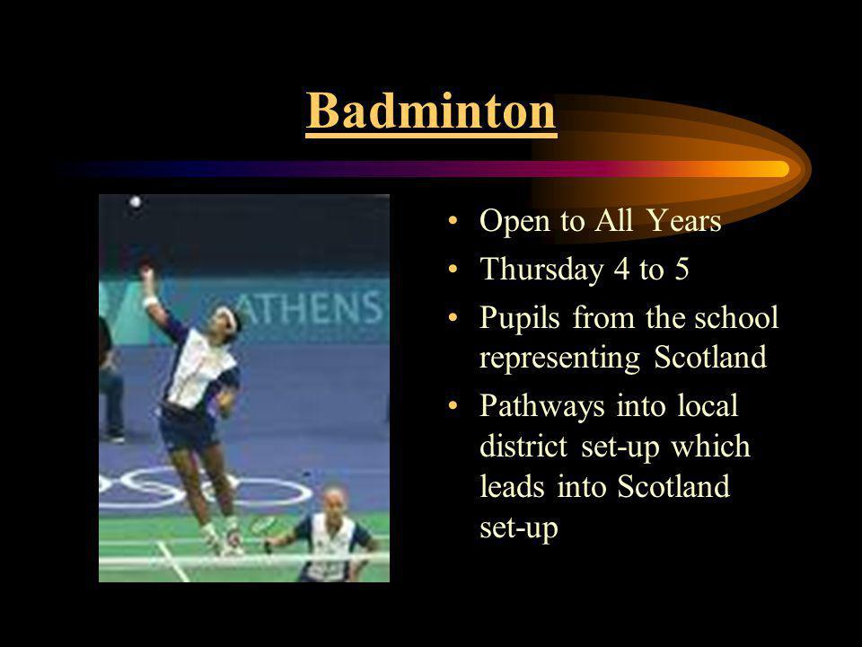 Basketball Boys Basketball Tuesday 4 to 5 Girls Basketball Wednesday 4 to 5 Regular Fixture on a Friday Scott Murray, Represented Scotland at Basketball as well as Rugby