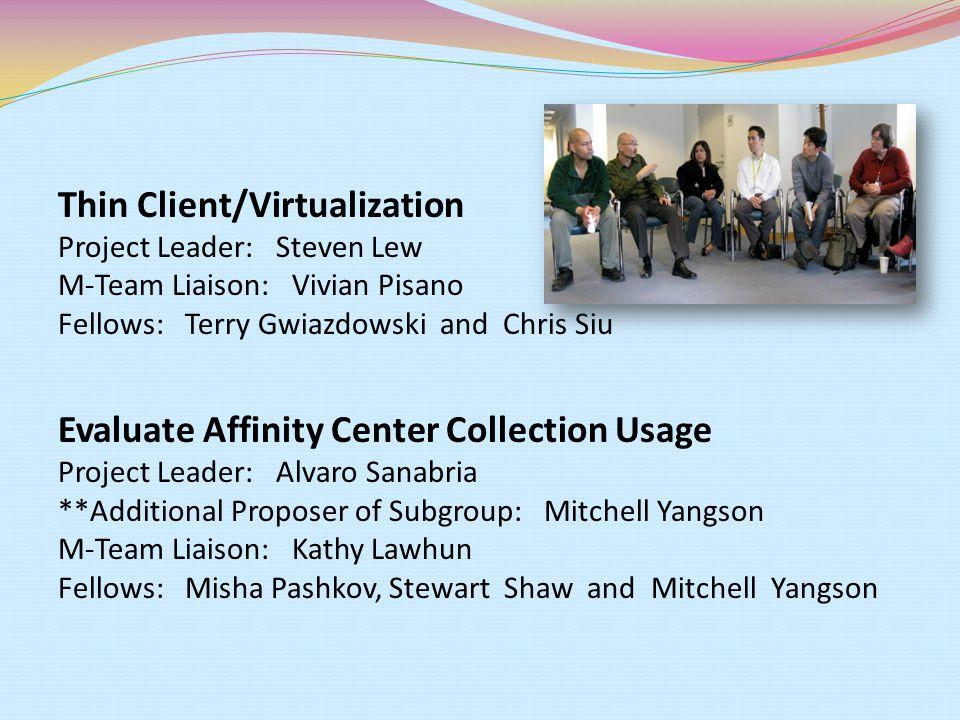 Thin Client/Virtualization Project Leader: Steven Lew M-Team Liaison: Vivian Pisano Fellows: Terry Gwiazdowski and Chris Siu Evaluate Affinity Center