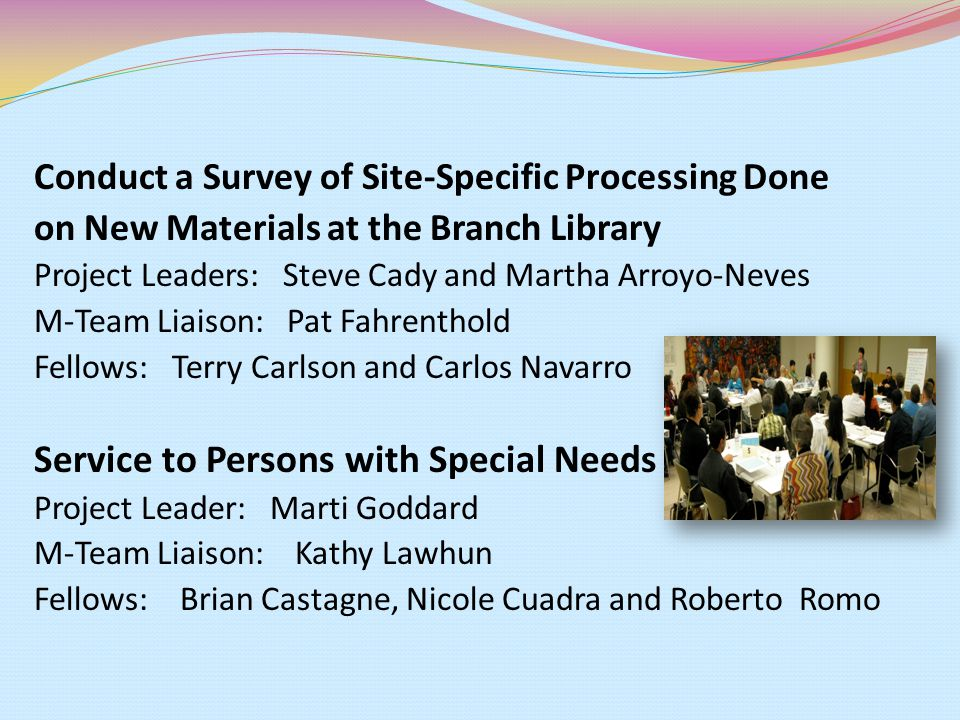 Conduct a Survey of Site-Specific Processing Done on New Materials at the Branch Library Project Leaders: Steve Cady and Martha Arroyo-Neves M-Team Liaison: Pat Fahrenthold Fellows: Terry Carlson and Carlos Navarro Service to Persons with Special Needs Project Leader: Marti Goddard M-Team Liaison: Kathy Lawhun Fellows: Brian Castagne, Nicole Cuadra and Roberto Romo