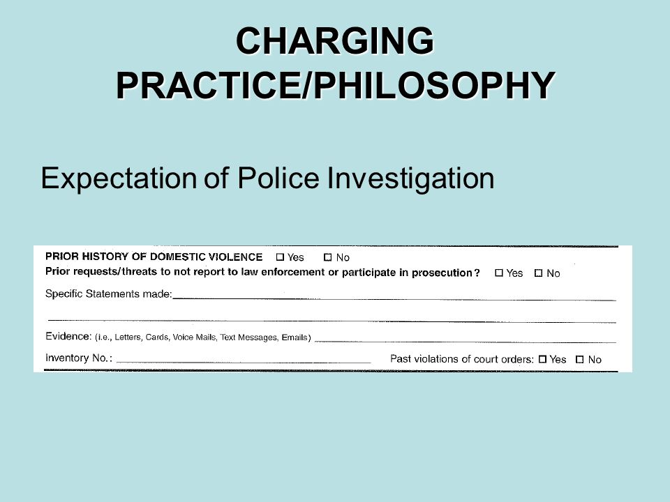 CHARGING PRACTICE/PHILOSOPHY Expectation of Police Investigation
