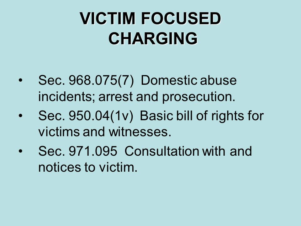 VICTIM FOCUSED CHARGING Sec.968.075(7) Domestic abuse incidents; arrest and prosecution.