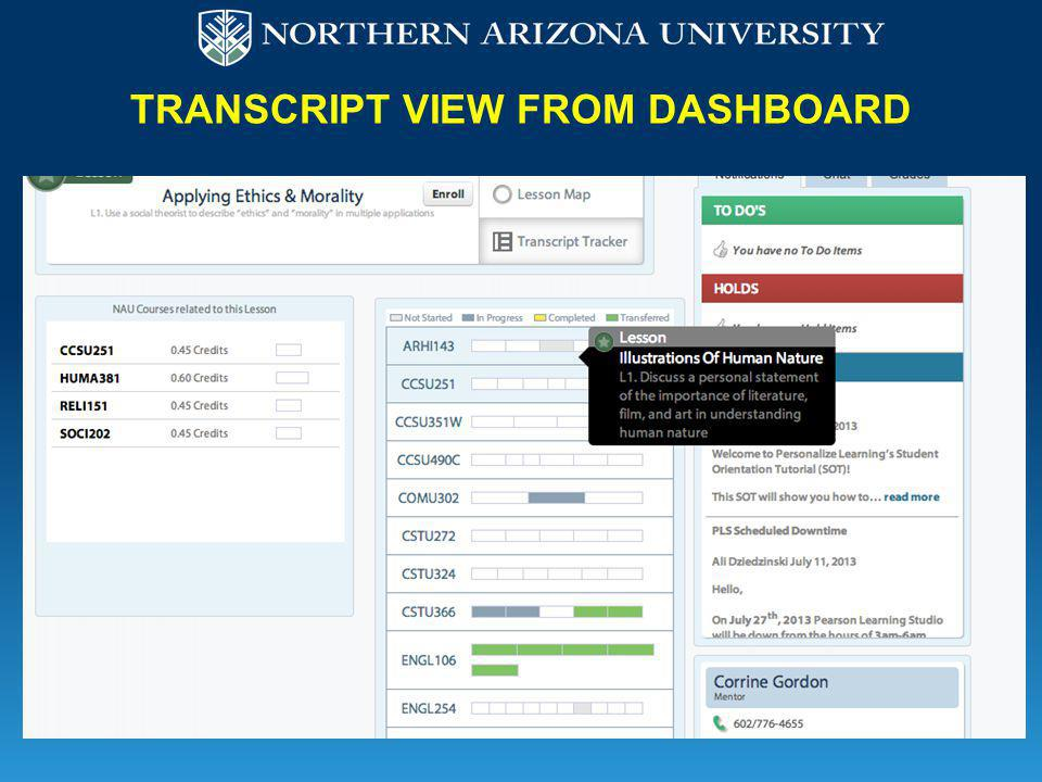 TRANSCRIPT VIEW FROM DASHBOARD