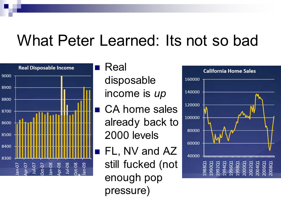 What Peter Learned: Its not so bad Real disposable income is up CA home sales already back to 2000 levels FL, NV and AZ still fucked (not enough pop pressure)