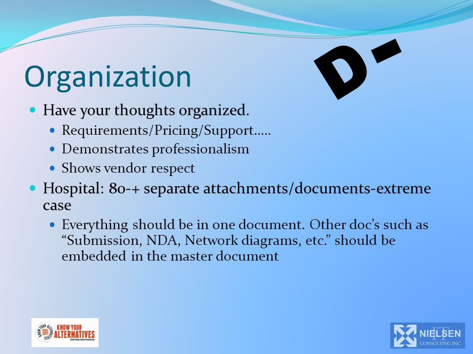 Organization Have your thoughts organized. Requirements/Pricing/Support….. Demonstrates professionalism Shows vendor respect Hospital: 80-+ separate a