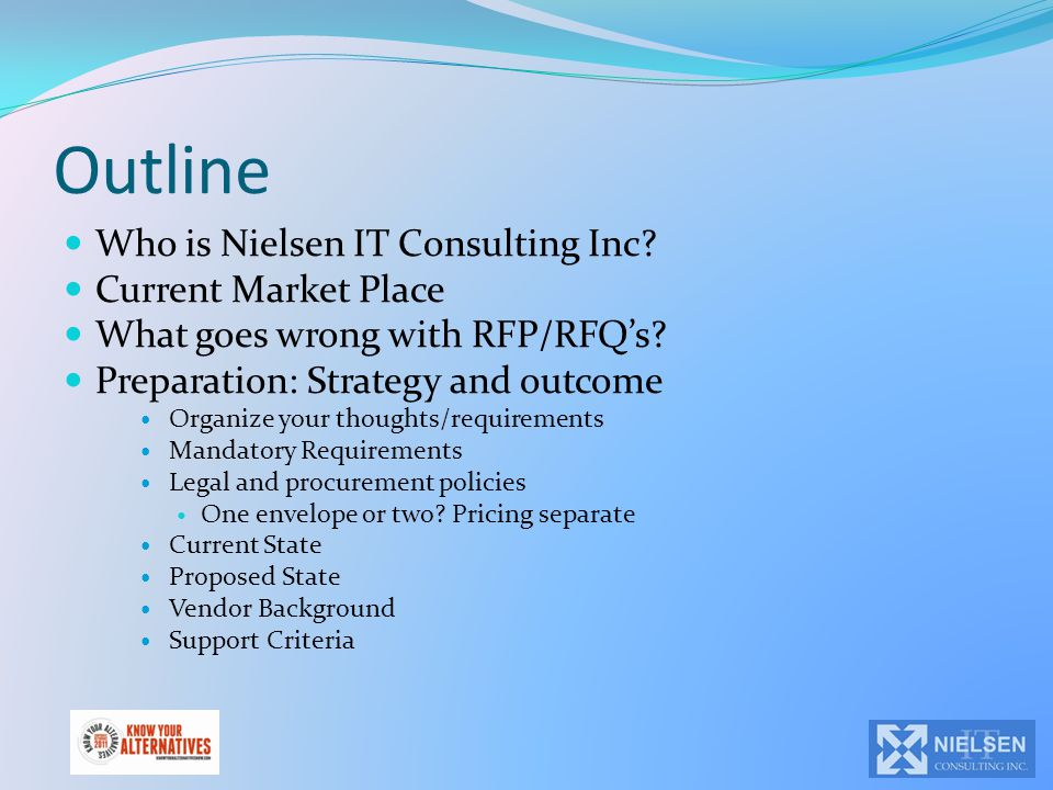 Outline Who is Nielsen IT Consulting Inc? Current Market Place What goes wrong with RFP/RFQ's? Preparation: Strategy and outcome Organize your thought