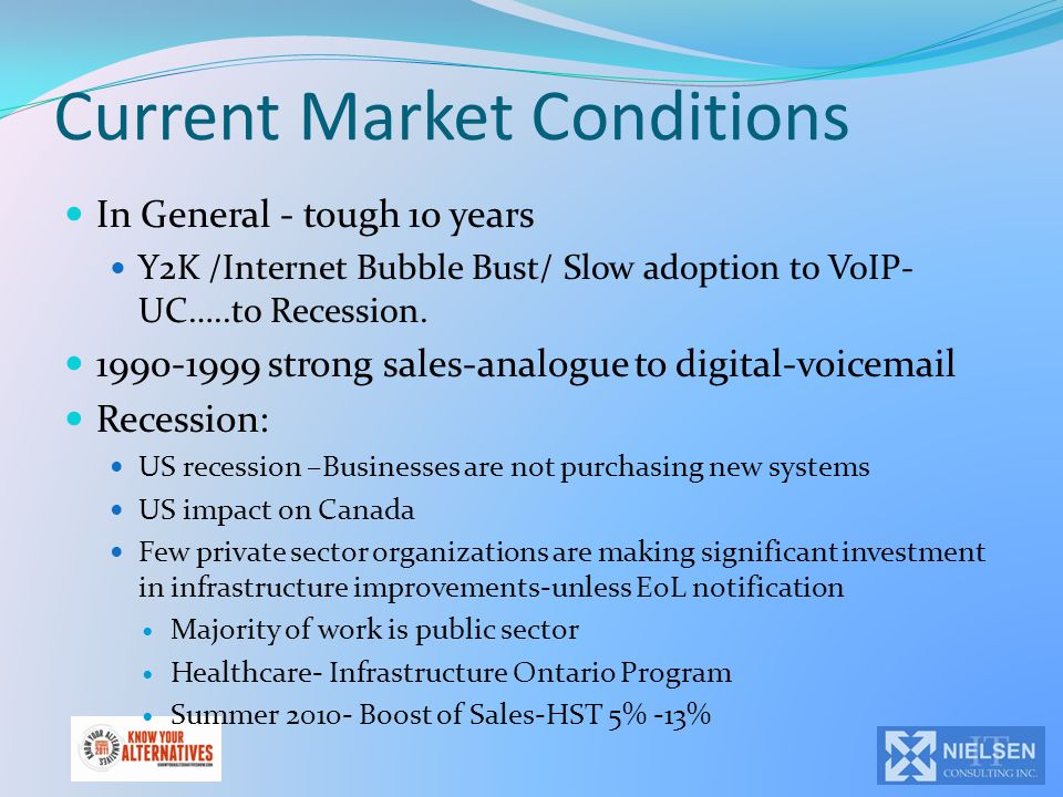 Current Market Conditions In General - tough 10 years Y2K /Internet Bubble Bust/ Slow adoption to VoIP- UC…..to Recession. 1990-1999 strong sales-anal