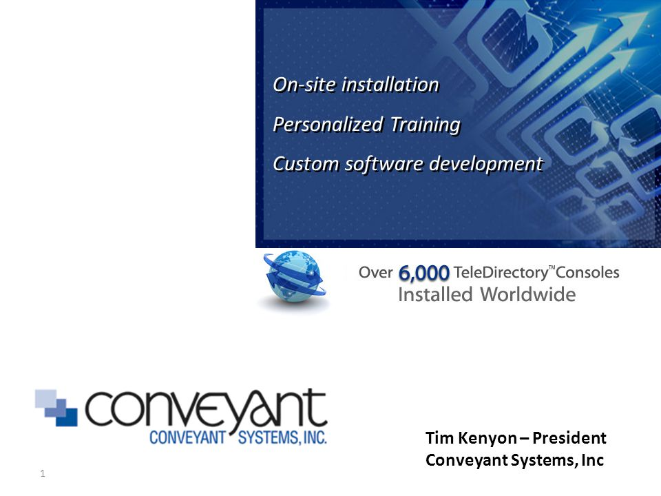 1 On-site installation Personalized Training Custom software development On-site installation Personalized Training Custom software development Tim Kenyon – President Conveyant Systems, Inc