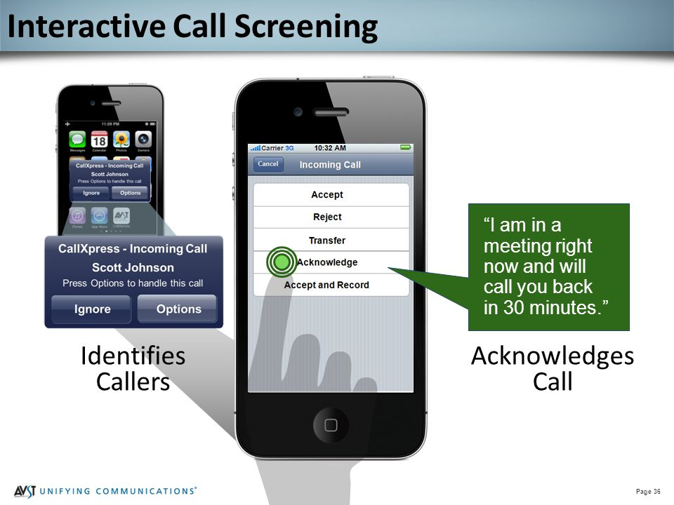 """Page 36 """"I am in a meeting right now and will call you back in 30 minutes."""" Acknowledges Call Interactive Call Screening Identifies Callers"""