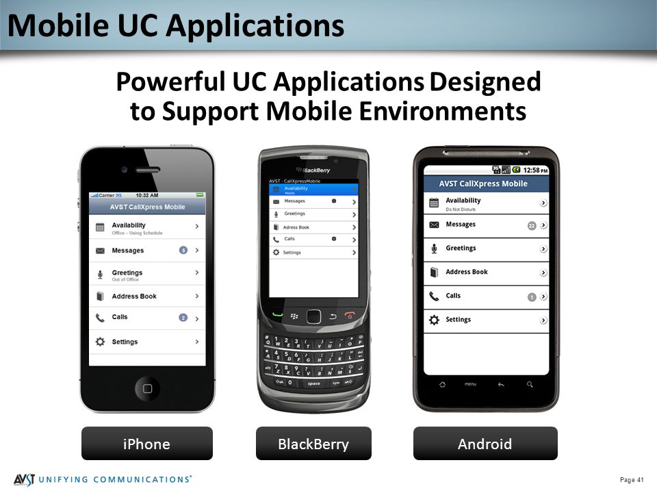 Page 41 Powerful UC Applications Designed to Support Mobile Environments iPhoneBlackBerryAndroid Mobile UC Applications