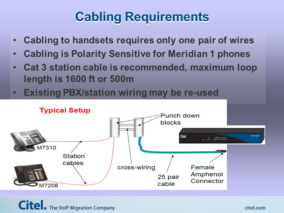 Cabling Requirements Cabling to handsets requires only one pair of wires Cabling is Polarity Sensitive for Meridian 1 phones Cat 3 station cable is recommended, maximum loop length is 1600 ft or 500m Existing PBX/station wiring may be re-used