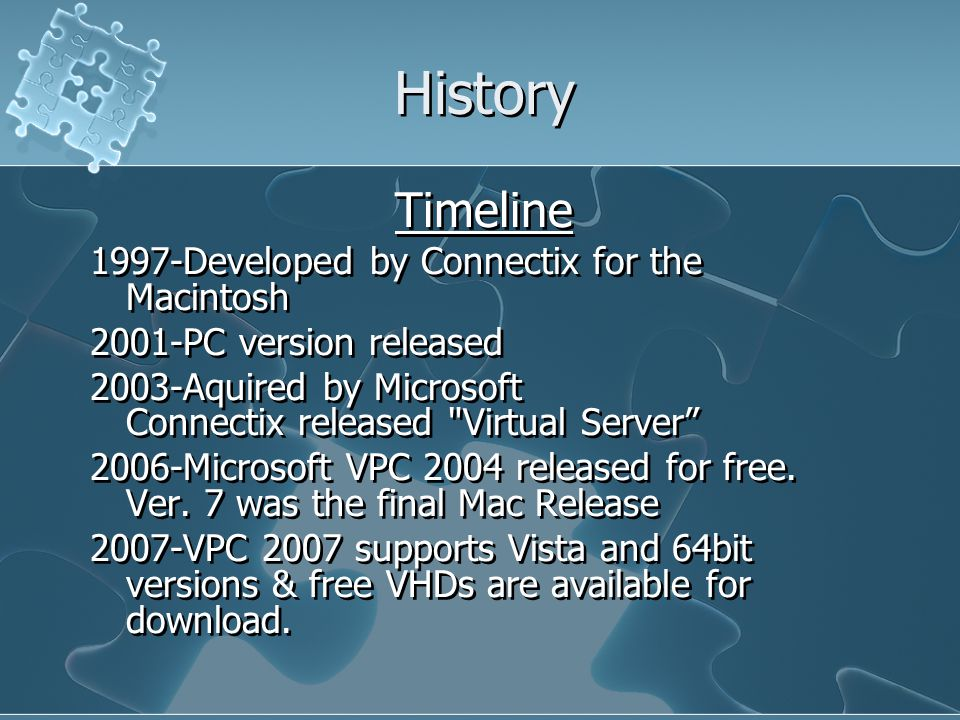 History Timeline 1997-Developed by Connectix for the Macintosh 2001-PC version released 2003-Aquired by Microsoft Connectix released Virtual Server 2006-Microsoft VPC 2004 released for free.