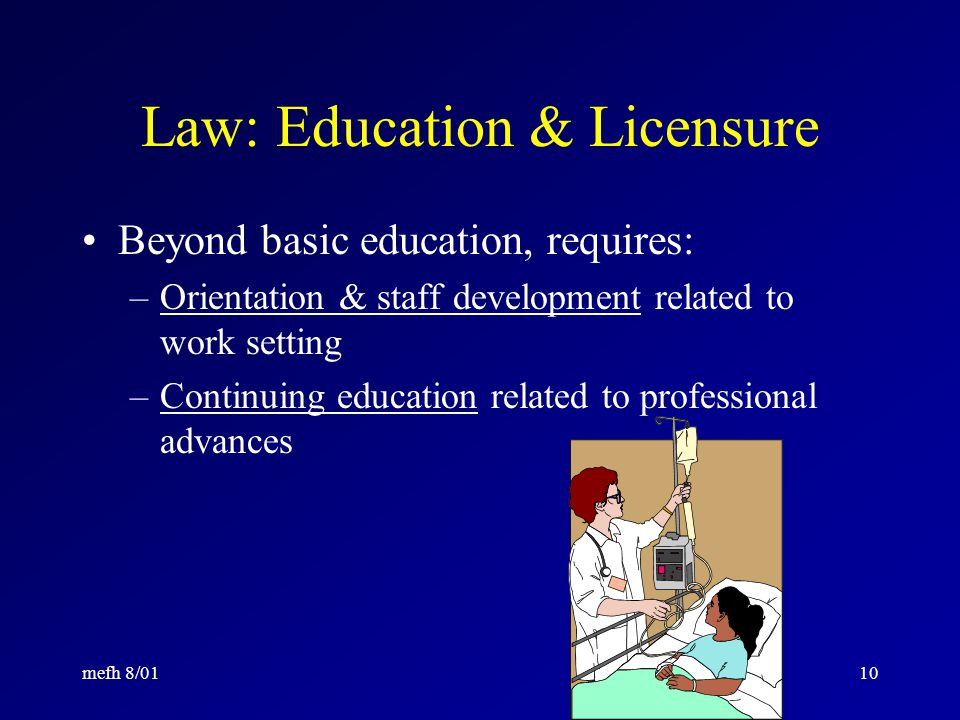 mefh 8/019 Law: Education & Licensure Activities of state Board of Registered Nursing –Approves all basic & advanced nursing education programs –Issues RN license based on passing national exam –Oversees those with RN license