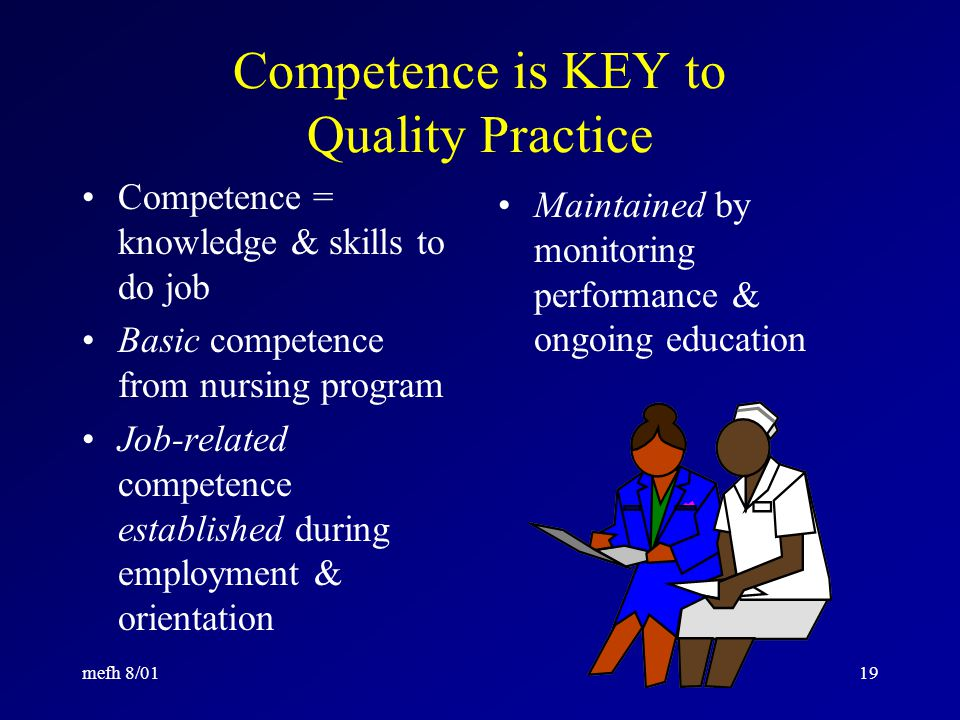 mefh 8/0118 Law: Curriculum must include: Integrated concepts Nursing process Basic nursing skills Human development Interdisciplinary skills Communication Natural sciences Related behavioral and social sciences