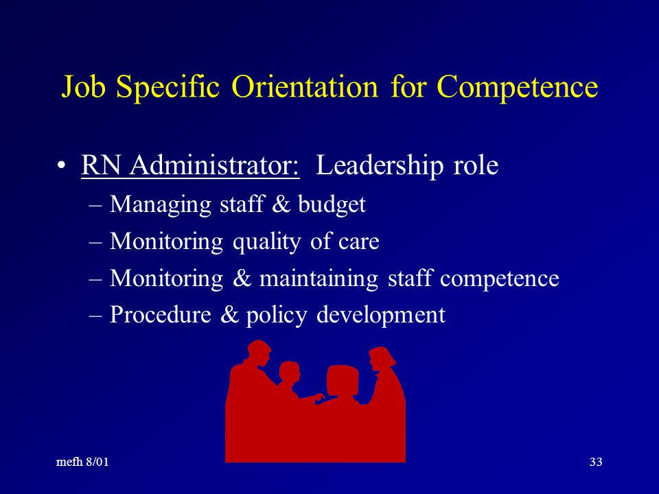 mefh 8/0132 Job Specific Orientation for Competence RN Educator: Role in supporting competence of staff –Collaboration –Curriculum expertise –Orientation responsibilities –Staff development responsibilities –CE responsibilities