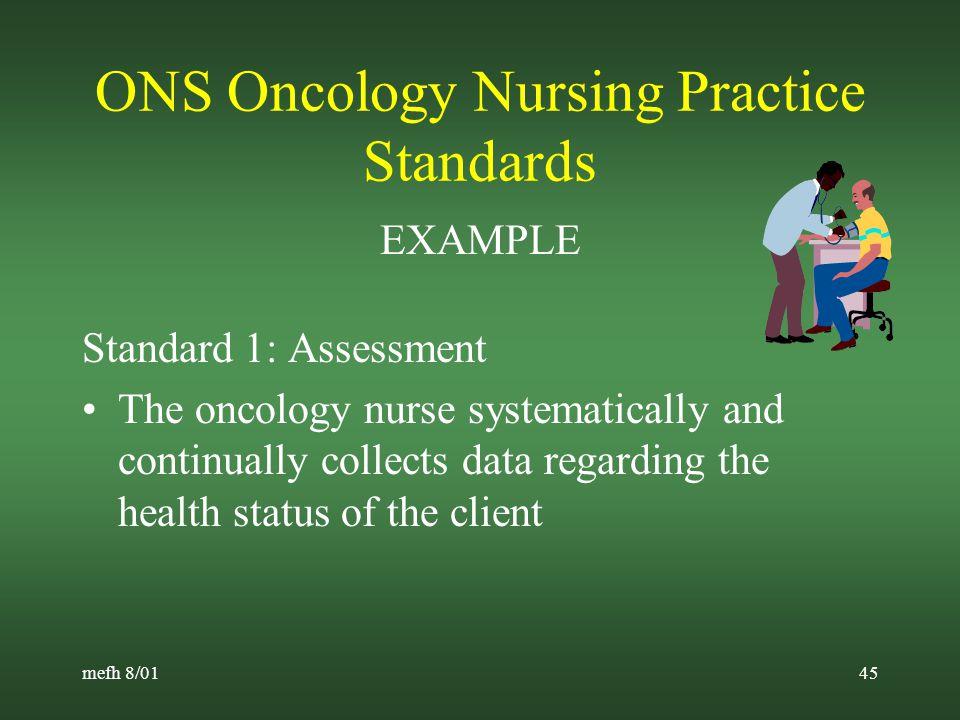 mefh 8/0144 Oncology Nursing Society (ONS) Standards Oncology Nursing Practice Advanced Oncology Nursing Practice Oncology Nursing Education