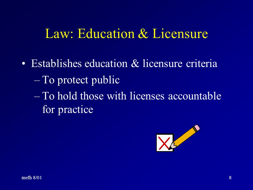 mefh 8/018 Law: Education & Licensure Establishes education & licensure criteria –To protect public –To hold those with licenses accountable for practice