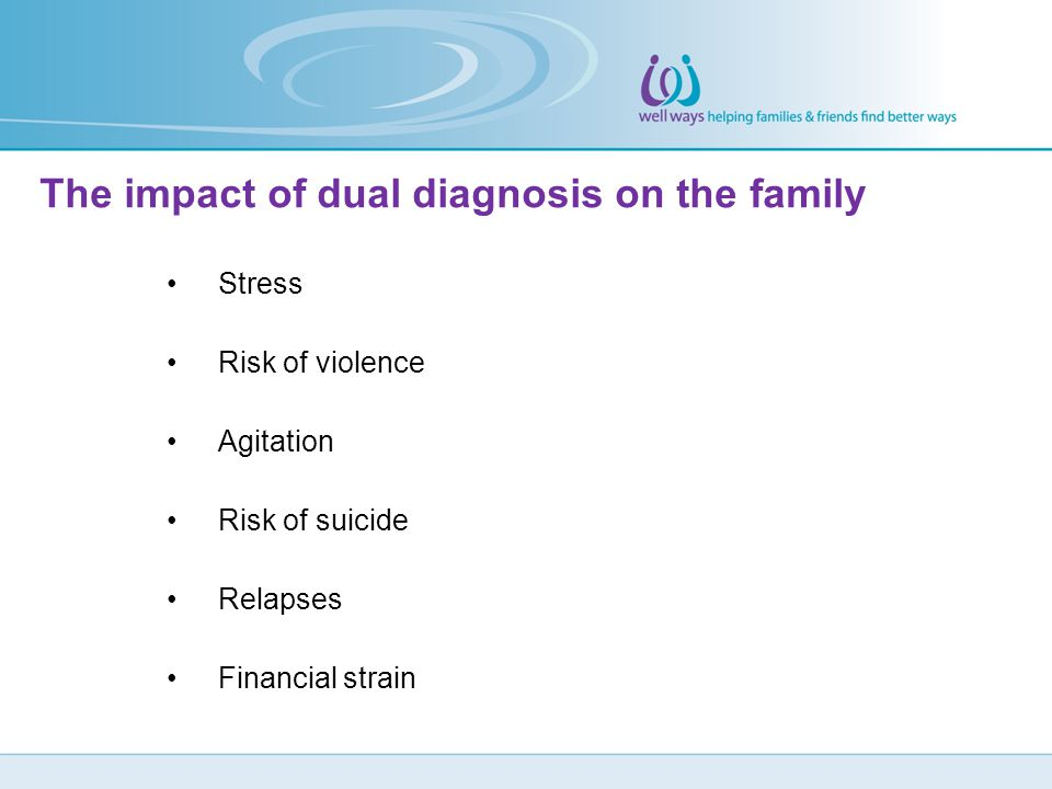 Stress Risk of violence Agitation Risk of suicide Relapses Financial strain The impact of dual diagnosis on the family