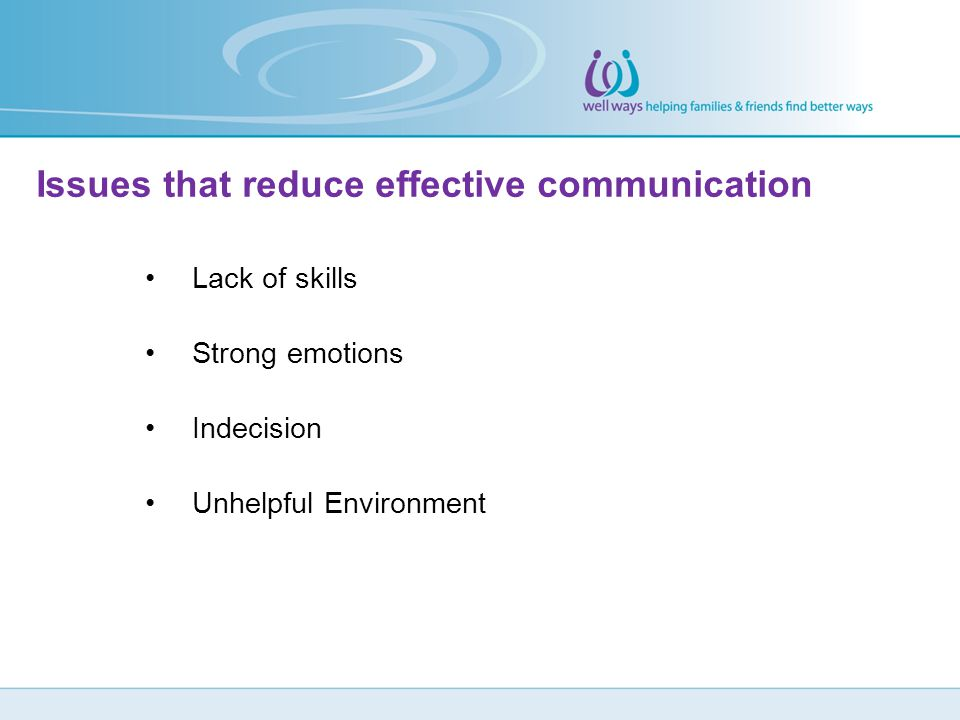 Issues that reduce effective communication Lack of skills Strong emotions Indecision Unhelpful Environment