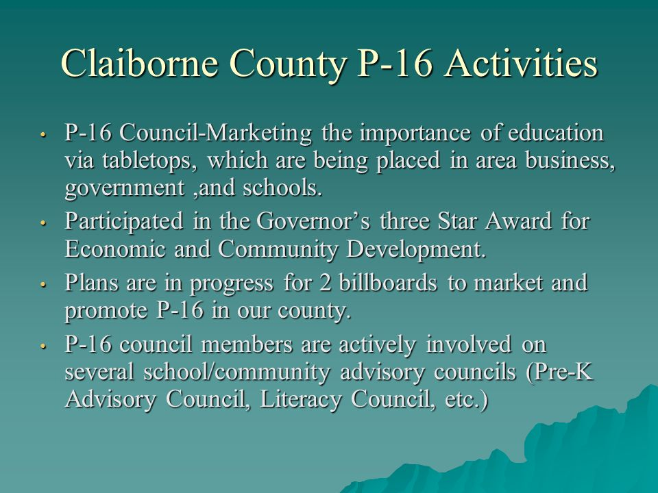 Claiborne County P-16 Activities P-16 Council-Marketing the importance of education via tabletops, which are being placed in area business, government,and schools.