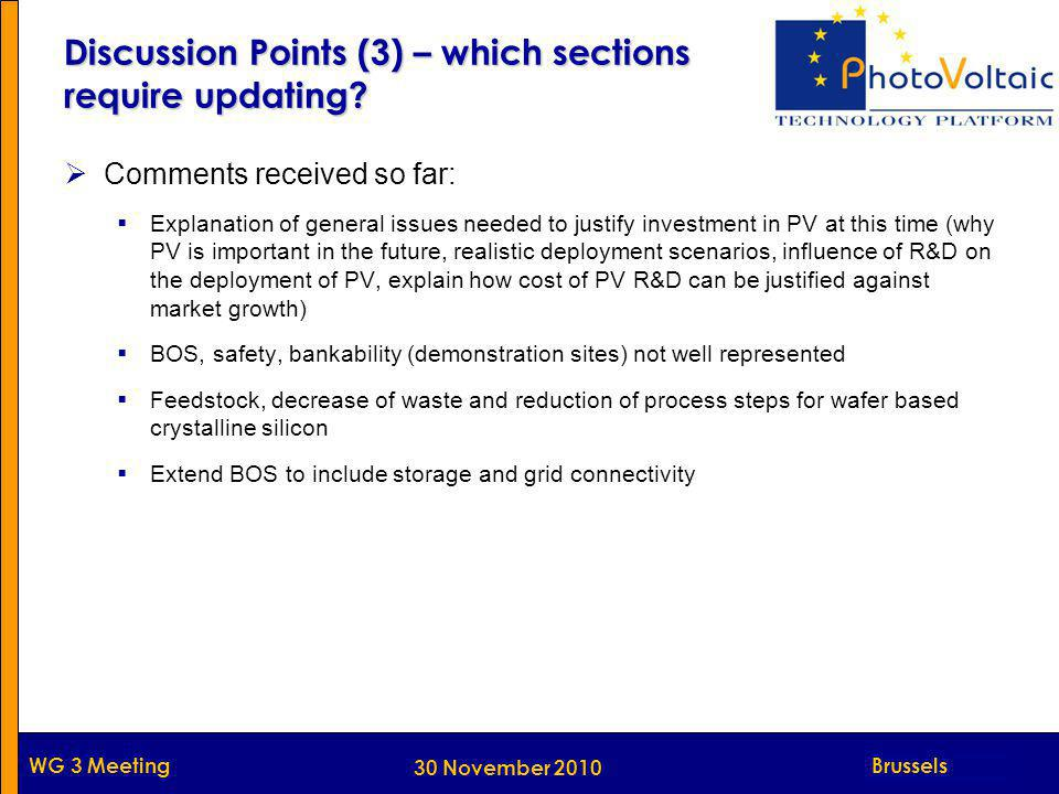 Munich WG 3 Meeting Discussion Points (3) – which sections require updating.