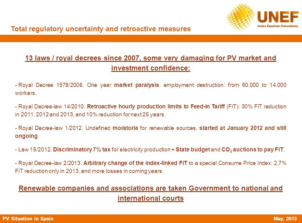 PV Situation in Spain May, 2013 Total regulatory uncertainty and retroactive measures 13 laws / royal decrees since 2007, some very damaging for PV ma