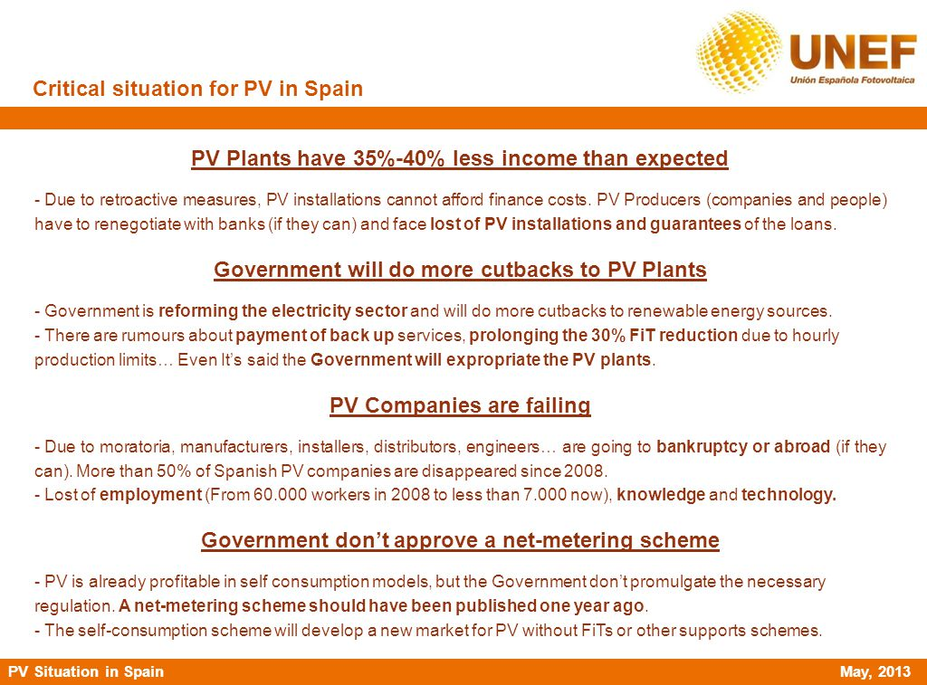 Critical situation for PV in Spain PV Plants have 35%-40% less income than expected - Due to retroactive measures, PV installations cannot afford fina