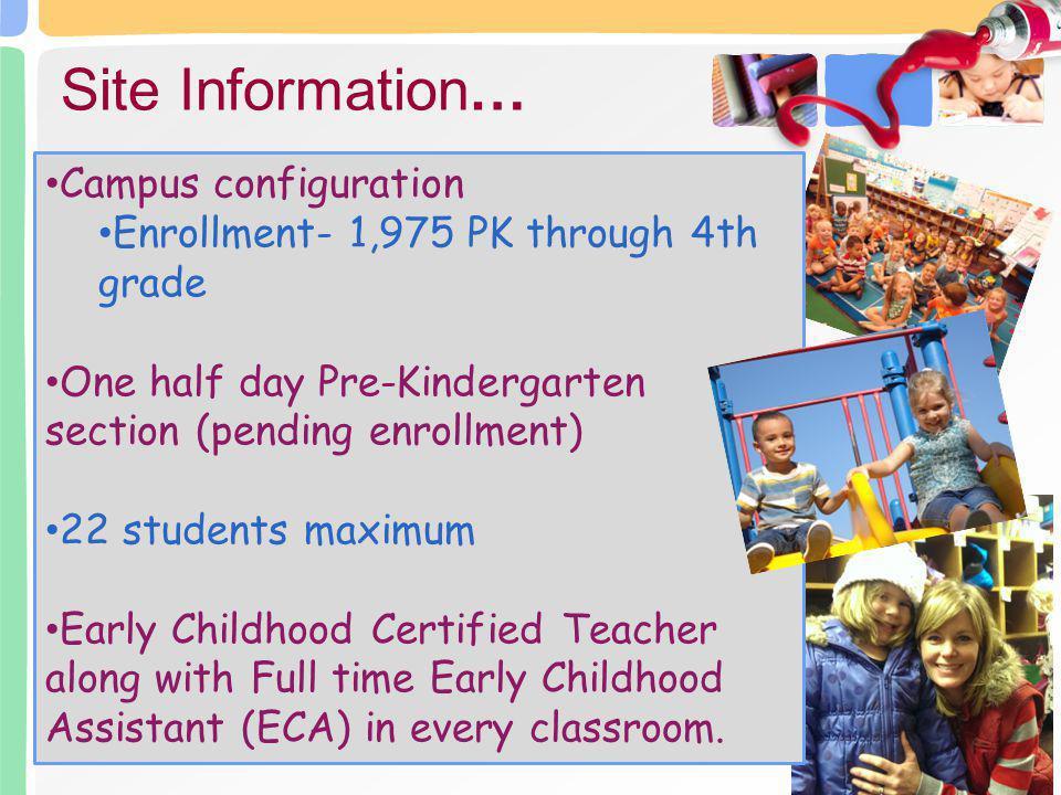 Campus configuration Enrollment- 1,975 PK through 4th grade One half day Pre-Kindergarten section (pending enrollment) 22 students maximum Early Child