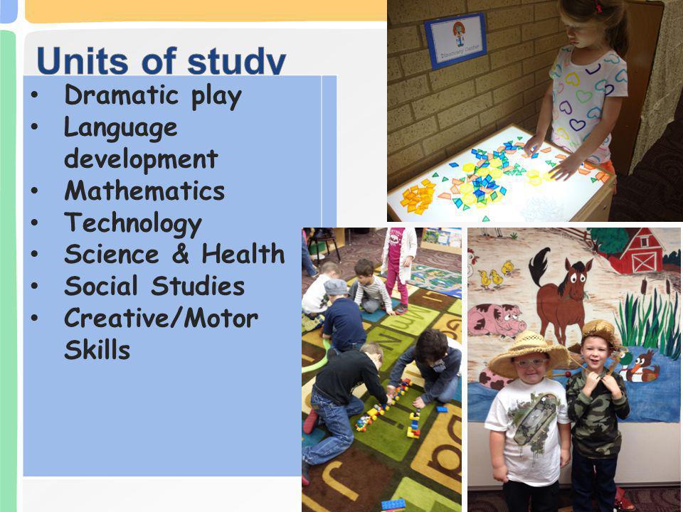 Dramatic play Language development Mathematics Technology Science & Health Social Studies Creative/Motor Skills