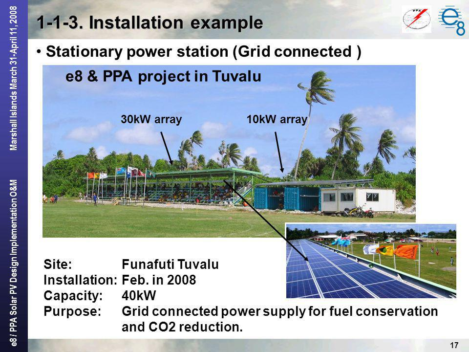 e8 / PPA Solar PV Design Implementation O&M Marshall Islands March 31-April 11, 2008 17 1-1-3. Installation example Stationary power station (Grid con