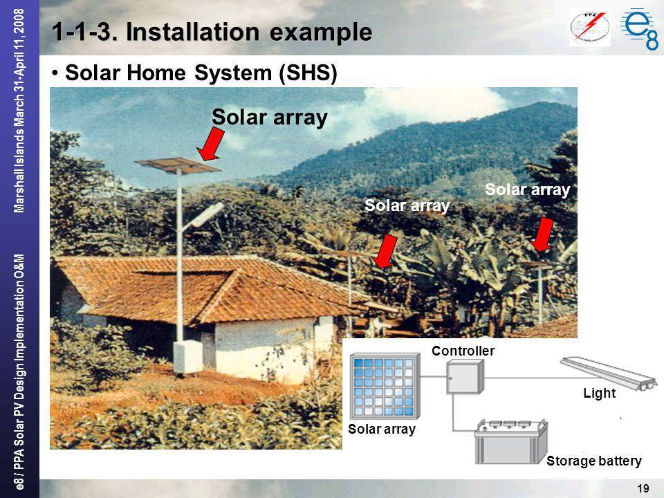e8 / PPA Solar PV Design Implementation O&M Marshall Islands March 31-April 11, 2008 19 1-1-3. Installation example Solar Home System (SHS) Solar arra