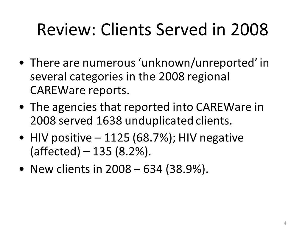 Review: Clients Served in 2008 There are numerous 'unknown/unreported' in several categories in the 2008 regional CAREWare reports. The agencies that