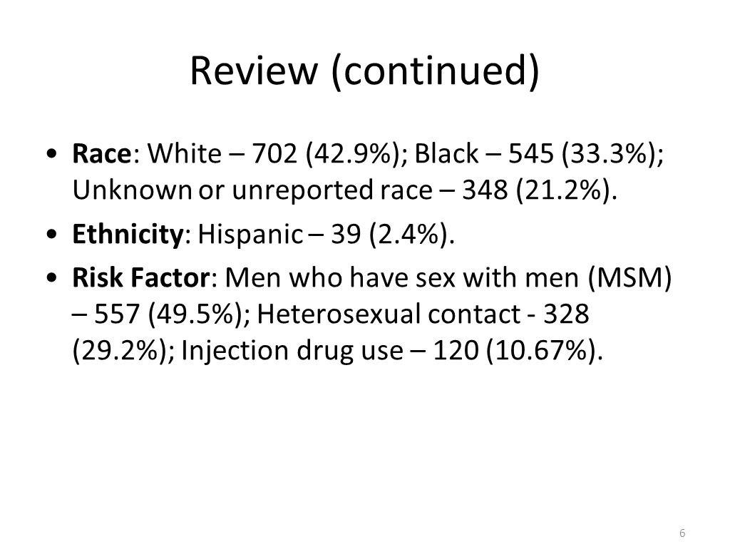 Review (continued) Race: White – 702 (42.9%); Black – 545 (33.3%); Unknown or unreported race – 348 (21.2%).