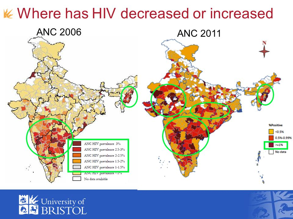 ANC 2006 ANC 2011 Where has HIV decreased or increased