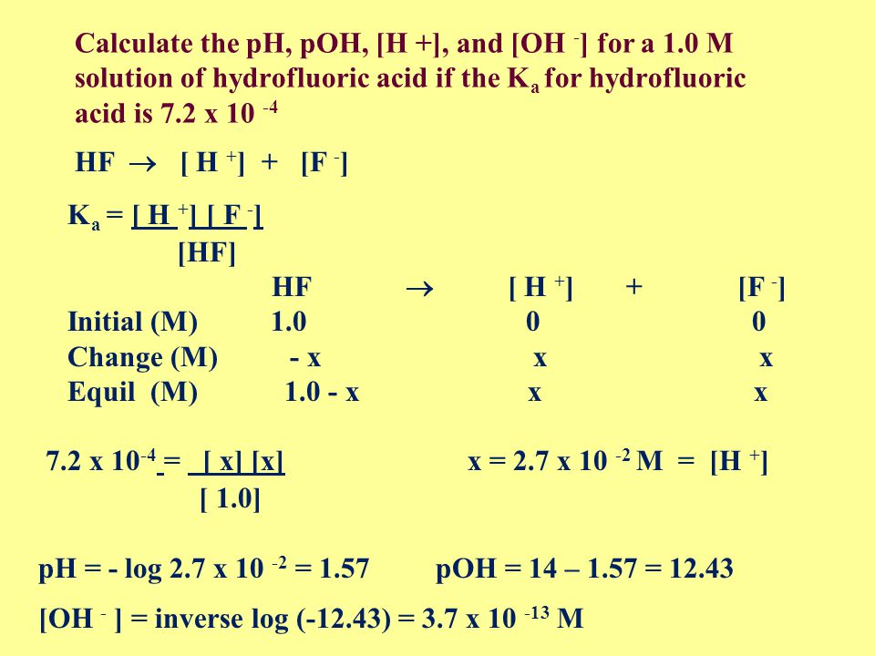 Calculate the pH, pOH, [H + ], and [OH - ] for a 0.0040 M solution of HNO 3 [H + ] = 0.0040 M pH = - log [0.004] = 2.40 pOH = 14 - 2.40 = 11.60 [OH - ] = inverse log (-11.60) = 2.51.