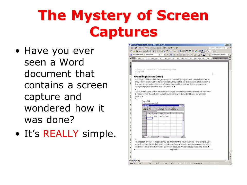 The Mystery of Screen Captures Have you ever seen a Word document that contains a screen capture and wondered how it was done.