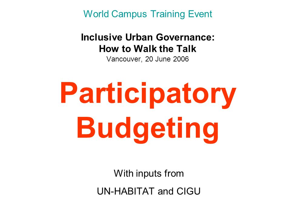 Accountability (1) Participatory Budgeting makes public contracts and budgets transparent by formal publication of tenders, contracts, budgets and accounts clarifies rules of the game --the internal rules of procedure specifies the power and the responsibility of the council members, the Mayor and city officials, in relation to the Participatory Budget Council evaluates and adjusts the process (modifications codified in the Rules of Procedure)
