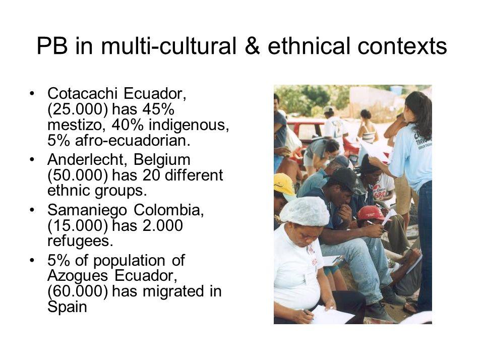 PB in multi-cultural & ethnical contexts Cotacachi Ecuador, (25.000) has 45% mestizo, 40% indigenous, 5% afro-ecuadorian.