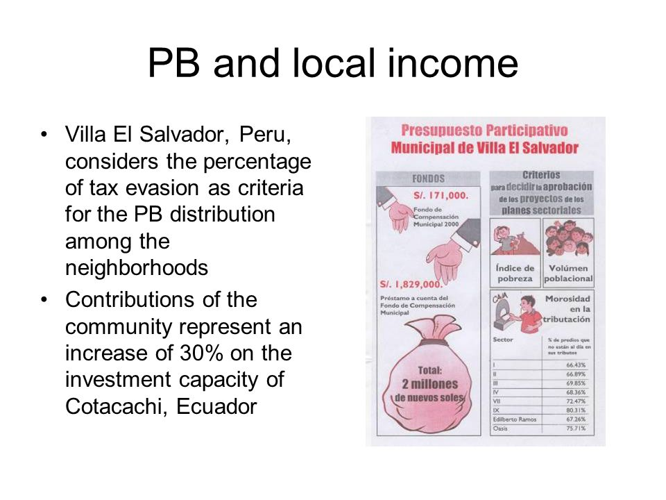PB and local income Villa El Salvador, Peru, considers the percentage of tax evasion as criteria for the PB distribution among the neighborhoods Contr